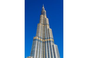 DUBAI, UAE - DECEMBER 28: View of Burj Khalifa tower in Dubai on