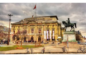 Grand Theatre de Geneve and Henri Dufour Statue - Switzerland