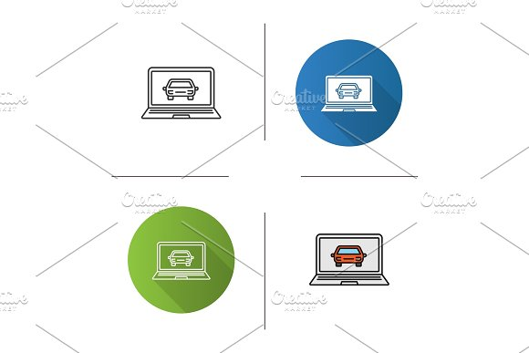 Laptop With Car Icon