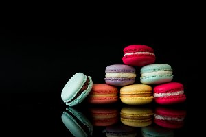 Colorful Macarons Still Life Black B