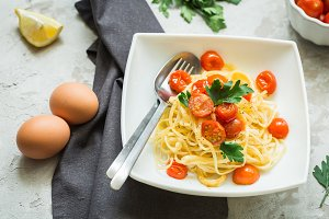 Pasta with red tomatoes cherry