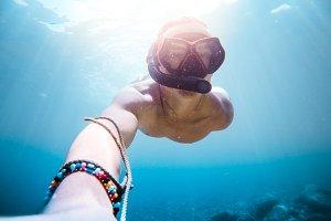 Underwater Diving Snorkeling Selfie