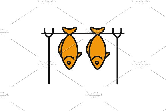 Grilled fish color icon