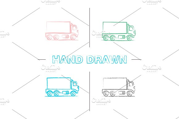 Delivery Truck Hand Drawn Icons Set