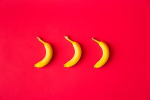 Bananas with Red Flat Background