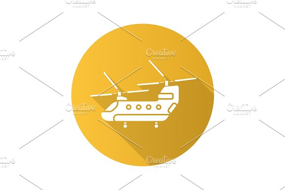 Military helicopter flat design long shadow glyph icon