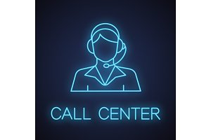 Call center operator neon light icon