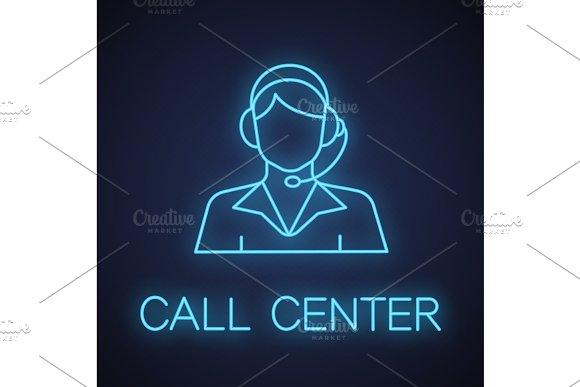 Call center operator neon light icon