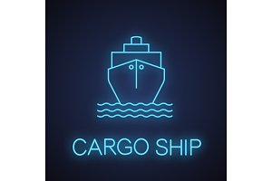 Cargo ship neon light icon