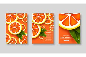 Sliced grapefruits poster set.