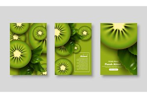 Sliced kiwi poster set.
