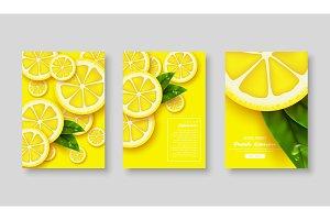 Sliced lemon poster set.