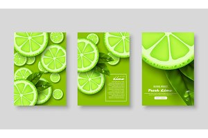 Sliced lime poster set.