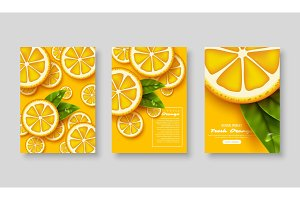 Sliced orange poster set.