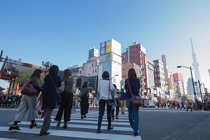 People travel walking in asakusa.
