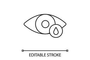 Human eye with drop linear icon
