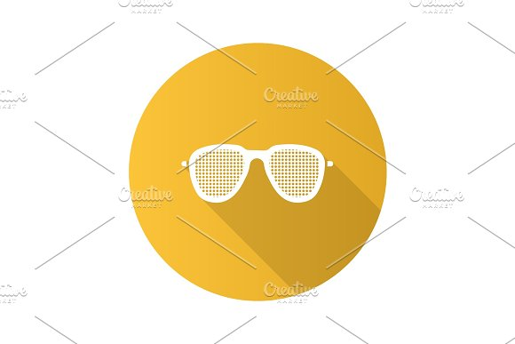 Pinhole Glasses Flat Design Long Shadow Glyph Icon