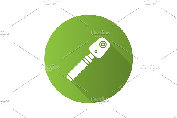 Ophthalmoscope Flat Design Long Shadow Glyph Icon