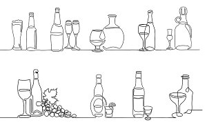 Set of bottle icons Continuous line