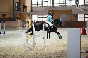 Young female rider on the black stallion jumping over hurdle
