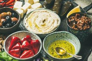 Mediterranean or Middle Eastern meze starter fingerfood platter in tray