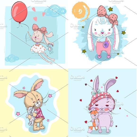 Set Of Cute Rabbits Hand Drawn