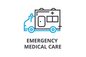 emergency medical care thin line icon, sign, symbol, illustation, linear concept, vector