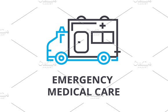 Emergency Medical Care Thin Line Icon Sign Symbol Illustation Linear Concept Vector