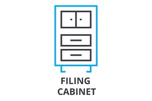 filing cabinet thin line icon, sign, symbol, illustation, linear concept, vector