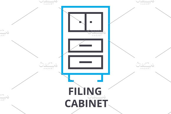Filing Cabinet Thin Line Icon Sign Symbol Illustation Linear Concept Vector