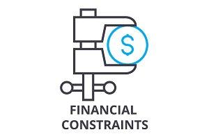 financial constraints thin line icon, sign, symbol, illustation, linear concept, vector