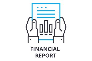 financial report thin line icon, sign, symbol, illustation, linear concept, vector