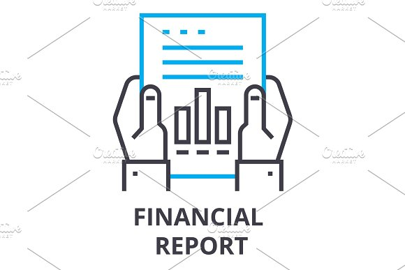 Financial Report Thin Line Icon Sign Symbol Illustation Linear Concept Vector