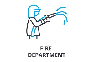 fire department thin line icon, sign, symbol, illustation, linear concept, vector