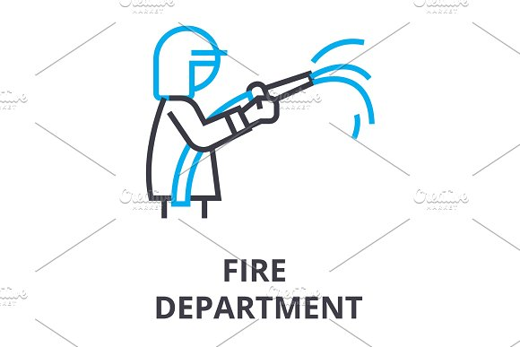 Fire Department Thin Line Icon Sign Symbol Illustation Linear Concept Vector