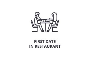first date in restaurant thin line icon, sign, symbol, illustation, linear concept, vector