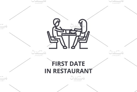 First Date In Restaurant Thin Line Icon Sign Symbol Illustation Linear Concept Vector