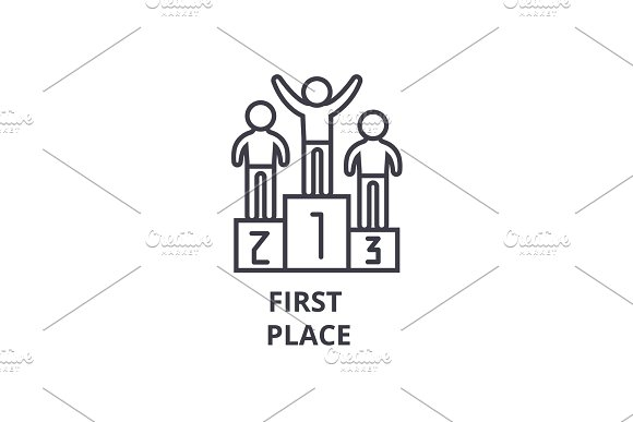 First Place Thin Line Icon Sign Symbol Illustation Linear Concept Vector