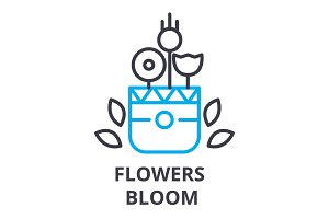 flowers bloom thin line icon, sign, symbol, illustation, linear concept, vector