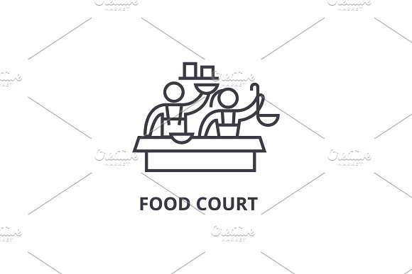 Food Court Thin Line Icon Sign Symbol Illustation Linear Concept Vector