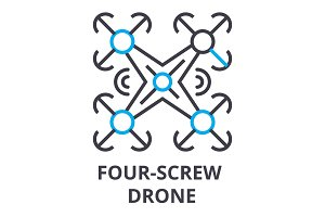 four screw drone thin line icon, sign, symbol, illustation, linear concept, vector