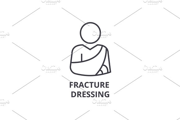 fracture dressing thin line icon, sign, symbol, illustation, linear concept, vector