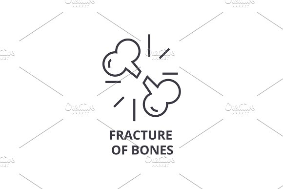 fracture of bones thin line icon, sign, symbol, illustation, linear concept, vector