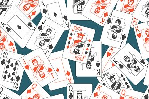 Seamless pattern with playing cards