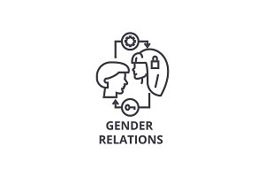 gender relations thin line icon, sign, symbol, illustation, linear concept, vector