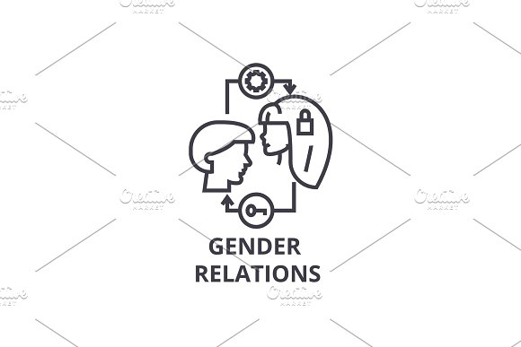 Gender Relations Thin Line Icon Sign Symbol Illustation Linear Concept Vector