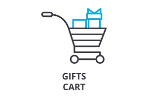 gifts cart  thin line icon, sign, symbol, illustation, linear concept, vector