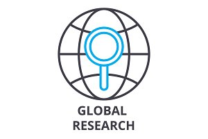 global research thin line icon, sign, symbol, illustation, linear concept, vector