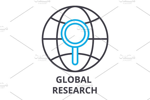 Global Research Thin Line Icon Sign Symbol Illustation Linear Concept Vector