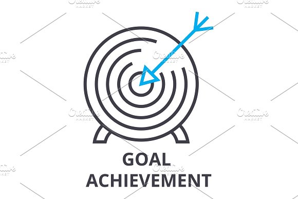 Goal Achievement Thin Line Icon Sign Symbol Illustation Linear Concept Vector